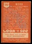 1952 Topps Look 'N See #110  Nero  Back Thumbnail