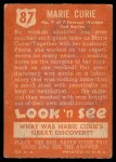 1952 Topps Look 'N See #87  Marie Curie  Back Thumbnail