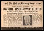 1954 Topps Scoop #132   Eisenhower Elected Back Thumbnail