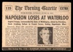 1954 Topps Scoop #115   Napoleon Loses At Waterloo Back Thumbnail