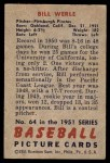 1951 Bowman #64  Bill Werle  Back Thumbnail