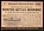 1954 Topps Scoop #7   Monitor Battles Merrimac  Back Thumbnail