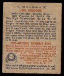 1949 Bowman #100  Gil Hodges  Back Thumbnail