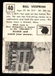 1951 Topps Magic #40  Bill Vesprini  Back Thumbnail