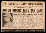 1954 Topps Scoop #13   Victory For Rough Riders Back Thumbnail