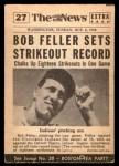 1954 Topps Scoop #27   -  Bob Feller Bob Feller Strikeout King Back Thumbnail