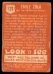 1952 Topps Look 'N See #121  Emile Zola  Back Thumbnail