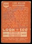 1952 Topps Look 'N See #100  William Beaverbrook  Back Thumbnail