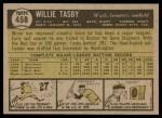 1961 Topps #458  Willie Tasby  Back Thumbnail