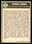 1967 Topps #116  Herman Franks  Back Thumbnail