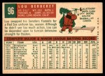 1959 Topps #96  Lou Berberet  Back Thumbnail