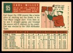 1959 Topps #95  Carl Willey  Back Thumbnail
