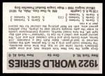 1971 Fleer World Series #20   1922 Giants / Yankees Back Thumbnail