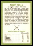 1963 Fleer #43  Maury Wills  Back Thumbnail