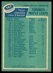 1976 O-Pee-Chee NHL #147   Maple Leafs Team Back Thumbnail