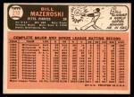 1966 Topps #210  Bill Mazeroski  Back Thumbnail
