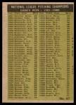 1961 Topps #47 xBAR  -  Warren Spahn / Ernie Broglio / Lew Burdette / Vern Law NL Pitching Leaders Back Thumbnail