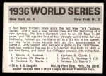 1971 Fleer World Series #34   1936 Yankees / Giants  Back Thumbnail