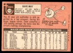 1969 Topps #113  Dave May  Back Thumbnail