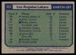 1975 Topps #212   Los Angeles Lakers Back Thumbnail