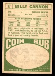 1968 Topps #37  Billy Cannon  Back Thumbnail