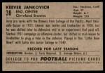 1952 Bowman Large #38  Keever Jankovich  Back Thumbnail