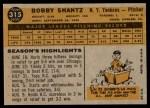 1960 Topps #315  Bobby Shantz  Back Thumbnail