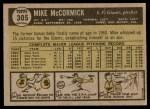 1961 Topps #305  Mike McCormick  Back Thumbnail