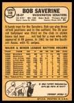 1968 Topps #149  Bob Saverine  Back Thumbnail