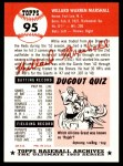 1953 Topps Archives #95  Willard Marshall  Back Thumbnail
