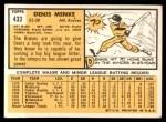 1963 Topps #433  Denis Menke  Back Thumbnail