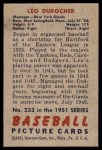 1951 Bowman #233  Leo Durocher  Back Thumbnail