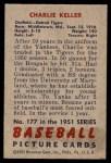 1951 Bowman #177  Charlie Keller  Back Thumbnail