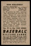 1952 Bowman #91  Don Kolloway  Back Thumbnail