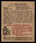 1948 Bowman #10  Bob Davies  Back Thumbnail