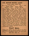 1940 Play Ball #238  Tony Lazzeri  Back Thumbnail