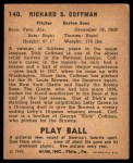 1940 Play Ball #140  Dick Coffman  Back Thumbnail