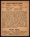 1940 Play Ball #144  Joe Vosmik  Back Thumbnail