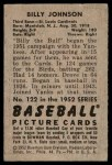 1952 Bowman #122  Billy Johnson  Back Thumbnail