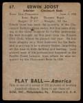 1939 Play Ball #67  Eddie Joost  Back Thumbnail