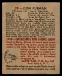 1948 Bowman #28  Don Putman  Back Thumbnail
