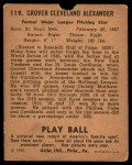 1940 Play Ball #119  Grover Alexander  Back Thumbnail