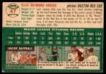 1954 Topps #47 WHT Ellis Kinder  Back Thumbnail