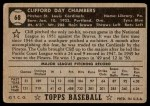 1952 Topps #68  Cliff Chambers  Back Thumbnail