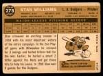 1960 Topps #278  Stan Williams  Back Thumbnail
