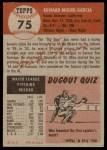 1953 Topps #75  Mike Garcia  Back Thumbnail