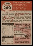 1953 Topps #260  Sammy Calderone  Back Thumbnail