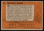 1956 Topps Davy Crockett #47   Trouble Ahead  Back Thumbnail