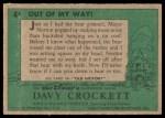 1956 Topps Davy Crockett Green Back #4   Out of My Way  Back Thumbnail