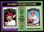 1975 Topps #210   -  Rich Allen / Johnny Bench 1972 MVPs Front Thumbnail